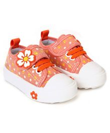Cute Walk Casual Shoes With Velcro Closure Floral Aapplique - Light Orange
