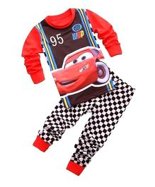 Adores Car Printed Night Suit - Red