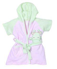 Pink Rabbit Hooded Bathrobe Giraffe Patch Work - Light Green Pink