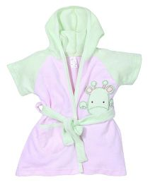 Pink Rabbit Hooded Bathrobe Giraffe Patch Work - Light Green Pink