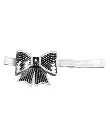 D'chica Blingy Bow Headband - Black & White