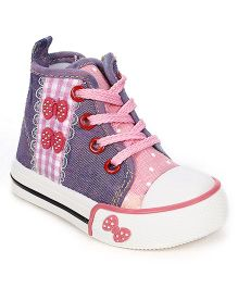 Cute Walk Canvas Shoes Butterfly Motif - Purple Pink