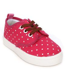 Cute Walk Dotted Canvas Shoes - Fuchsia