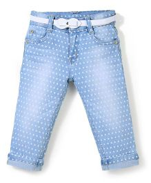 Bleeding Blue by Babyhug Jeans Dots Print and Butterfly Embroidery - Blue