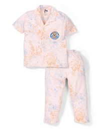 Cartoon Network Half Sleeves T-Shirt And Pajama Night Suit - Peach