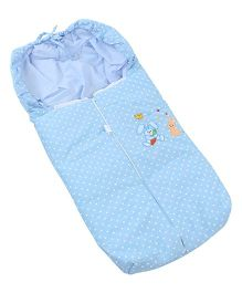Montaly Dotted Sleeping Bag Rabbit Embroidery - Blue