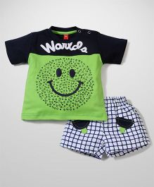 Wow Half Sleeves T-Shirt And Shorts World Print - Green