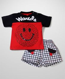 Wow Half Sleeves T-Shirt And Shorts World Print - Red