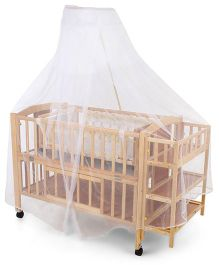 Mee Mee Baby Crib Cot With Wheels - Brown