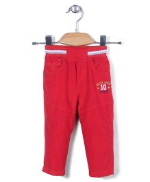 Jash Kids Pull On Pants Numeric 10 Embroidery - Red