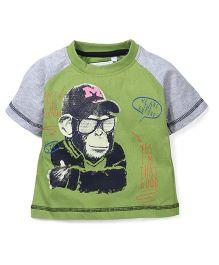 Prince And Princess Half Sleeves T-Shirt Printed - Kiwi Green