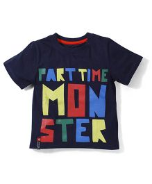Prince And Princess Half Sleeves T-Shirt Part Time Monster Print - Navy Blue