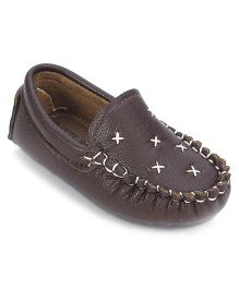 Cute Walk Loafer Shoes - Brown