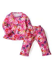 Cucumber Full Sleeves Night Suit Flowers Print - Pink
