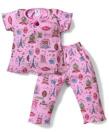 Cucumber Half Sleeves Night Suit Paris Print - Pink