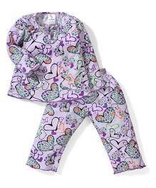 Cucumber Full Sleeves Night Suit Hearts Print - Purple