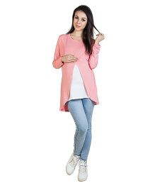 Blush 9 Full Sleeves Nursing Top With Wrap Overlay Strawberry Pink  Outer Inner White