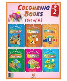 Coloring Books Set 2 Pack Of 6 Books - English
