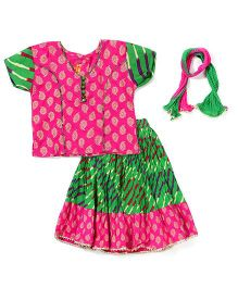 Exclusive From Jaipur Half Sleeves Choli And Ghagra With Dupatta - Pink and Green