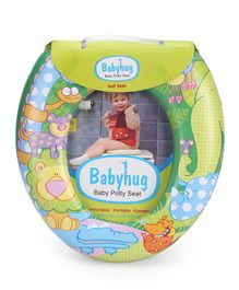 Babyhug Soft Cushioned Baby Potty Seat Crocodile & Elephant Print - Green