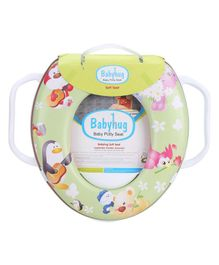 Babyhug Soft Cushioned Baby Potty Seat With Handle Animal Print - Green