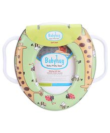 Babyhug Potty Seat With Handle Animal Print - Green