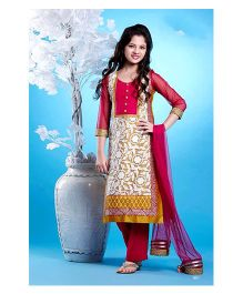 Peek-a-boo Ethnic Straight Cut Dress - Pink & White