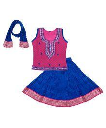 Bownbee Sleeveless Lehenga Choli With Dupatta - Pink Blue