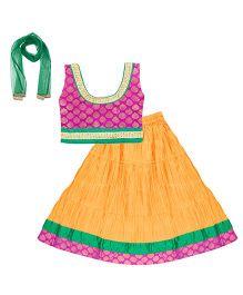 Bownbee Sleeveless Lehenga Choli With Dupatta - Pink Yellow