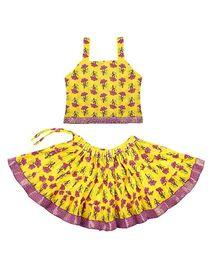 Bownbee Sleeveless Jaipuri Printed Lehenga And Choli - Light Yellow