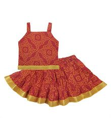 Bownbee Sleeveless Jaipuri Printed Lehenga And Choli - Red