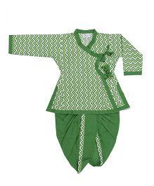 Bownbee Printed Angrakha Kurta And Dhoti - Green