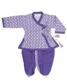 Bownbee Printed Angrakha Kurta And Dhoti - Purple