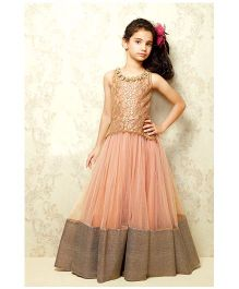 Peek a Boo Stylish Evening Gown - Peach & Gold