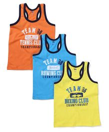 Simply Contrast Neckline Pack Of 3 Vests - Orange Blue Yellow