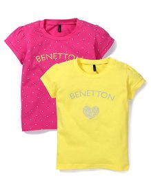 UCB Half Sleeves Top Printed Pack Of 2 - Pink Yellow