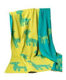 Pluchi Baby Giraffe's Print Blanket - Green & Yellow