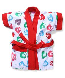 Red Rose Short Sleeves Bathrobe Heart Design - Red White