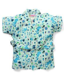 Red Rose Short Sleeves Bathrobe Dora Design - Sky Blue