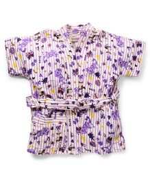 Red Rose Short Sleeves Bathrobe Dora Design - Purple
