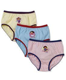 Dora Printed Panties Set of 3 - Yellow Sky Blue Light Pink