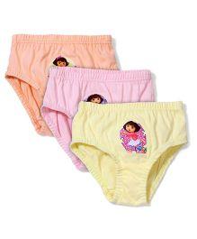 Dora Printed Panties Pack of 3 - Pink Peach Yellow