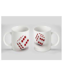 Stybuzz Kids Ceramic Mug Dice Print White & Red - 300 ml