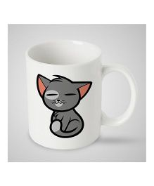 Stybuzz Kids Ceramic Mug Sitting Kitty Print White & Grey - 300 ml