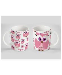 Stybuzz Kids Ceramic Mug Owl Print Pink 300 ml - Single Piece