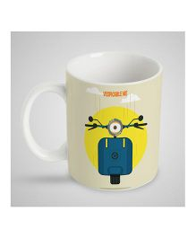 Stybuzz Kids Ceramic Mug Scooter Print White & Yellow - 300 ml