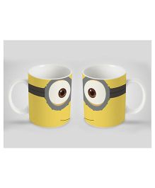 Stybuzz Kids Ceramic Mug Minion Print White & Yellow 300 ml - Single Piece