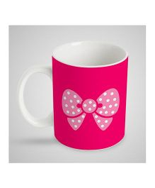 Stybuzz Kids Ceramic Mug Bow Print White & Pink 300 ml - Single Piece