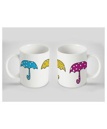 Stybuzz Kids Ceramic Mug Umbrella Print White 300 ml - Single Piece