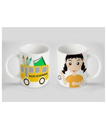 Stybuzz Kids Ceramic Mug Bus Print White & Yellow 300 ml - Single Piece
